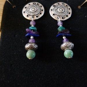 Jewelry - Southwestern Style Amethyst & Turquoise Earrings